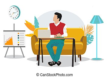 Student with a laptop sitting on a sofa. Freelance or study concept. Cute illustration in flat style. Distance learning at home