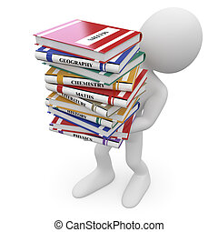 Student with a lot of books. Image of an isolated white character. Rendered on a white background with diffuse shadows.