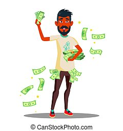 Student With A lot Of Money In Hands Vector. Isolated Illustration