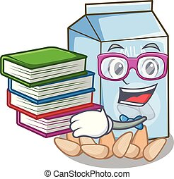 Student with book almond milk in the cartoon shape