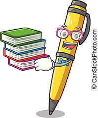 Student with book antique ink pen shape on cartoon
