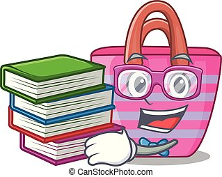 Student with book beautiful female beach bag on mascot