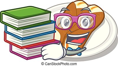 Student with book cannoli in the a cartoon shape