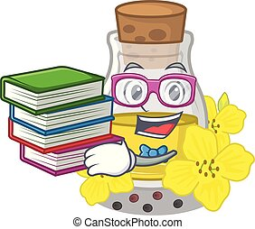 Student with book canola seed oil on a cartoon vector ...