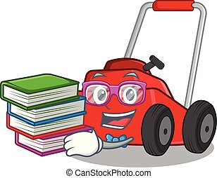 Student with book cartoon lawnmower in the a warehouse