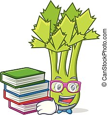 Student with book celery mascot cartoon style