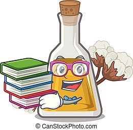 Student with book cottonseed oil at the cartoon table vector...