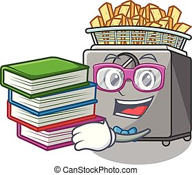 Student with book deep fryer machine isolated on mascot...