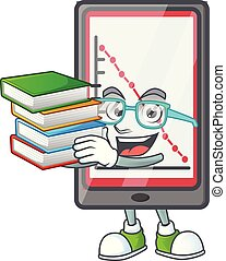 Student with book down chart vertical tablet with mascot ...