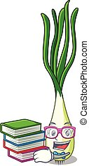 Student with book fresh scallion isolated on the mascot...