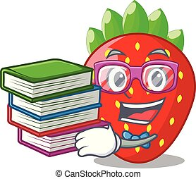 Student with book fresh strawberry in a bowl cartoon