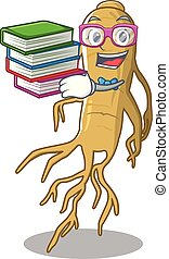 Student with book ginseng in the a cartoon shape