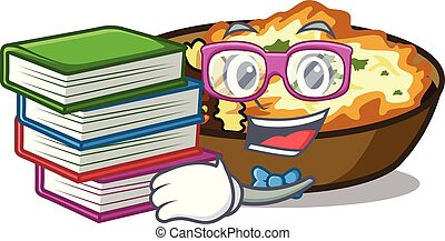 Student with book gratin is baked in cartoon oven