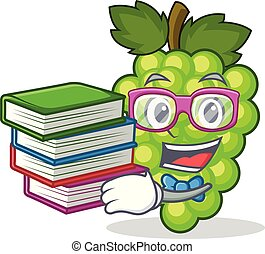 Student with book green grapes mascot cartoon
