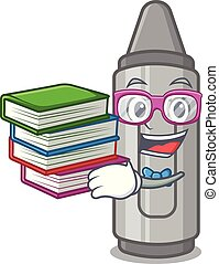 Student with book grey crayon in a bag cartoon