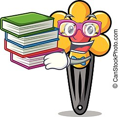 Student with book hair clip mascot cartoon vector...