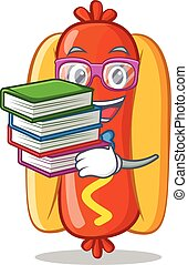 Student With Book Hot Dog Cartoon Character