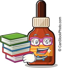 Student with book iodine in the a cartoon bag