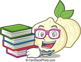 Student with book jicama in the a cartoon shape