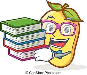 Student with book mango character cartoon mascot vetcor...