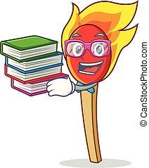 Student with book match stick mascot cartoon