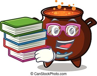 Student with book miniature cauldron in the a cartoon
