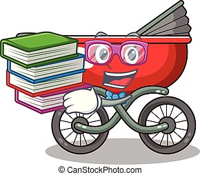 Student with book modern baby stroller isolated against mascot