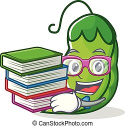 Student with book peas mascot cartoon style