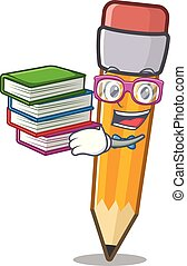 Student with book pencil in the a character shape
