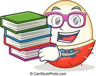 Student with book rambutan mascot cartoon style