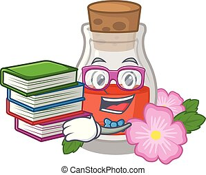 Student with book rosehip seed oil on a mascot