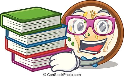 Student with book samgyetang in a the cartoon plate