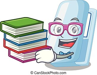 Student with book stapler in a the cartoon wallet