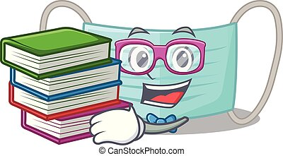 Student with book surgical mask in a cartoon wallet