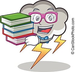 Student with book thunder cloud character cartoon vector...