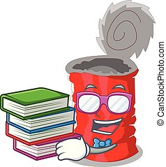 Student with book tincan ribbed metal character a canned...