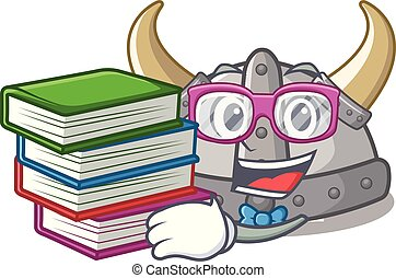 Student with book viking helmet in the a cartoon