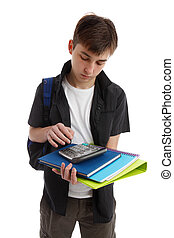 Student with books and equipment