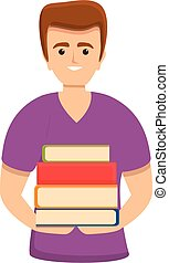 Student with books icon, cartoon style