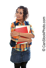 student with books in hand isolated over white background.