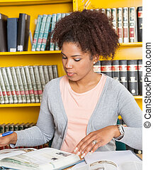 Student With Books Studying At Table In Library
