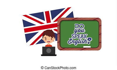 student with chalkboard and british flag learn english -...