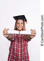 Student with diploma and graduation cap
