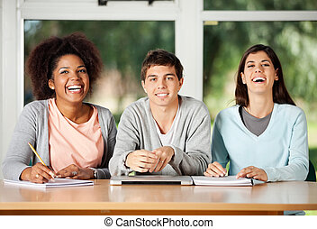 Student With Friends Sitting At Desk In Classroom