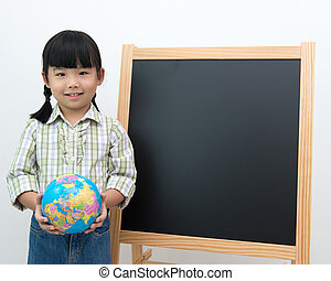 Student with globe and black board