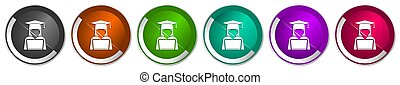 Student with laptop icon set, computer, education silver metallic chrome border vector web buttons in 6 colors options for webdesign