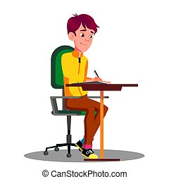 Student With Pen In Hand Writing Exams On Sheet Of Paper Vector. Isolated Illustration