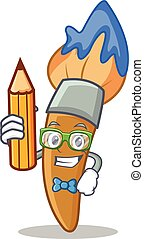 Student with pencil paint brush character cartoon