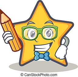 Student with pencil star character cartoon style
