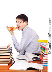 Student with Pizza - Hungry Student eating a Pizza at the ...